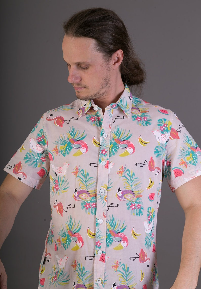 Mens 100/% Cotton Short Sleeve Slim Fit Shirt Pink Flamingo Parrot Bird Print