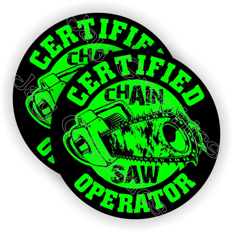 764e96df481 Pair Certified Chainsaw Operator Hard Hat Stickers