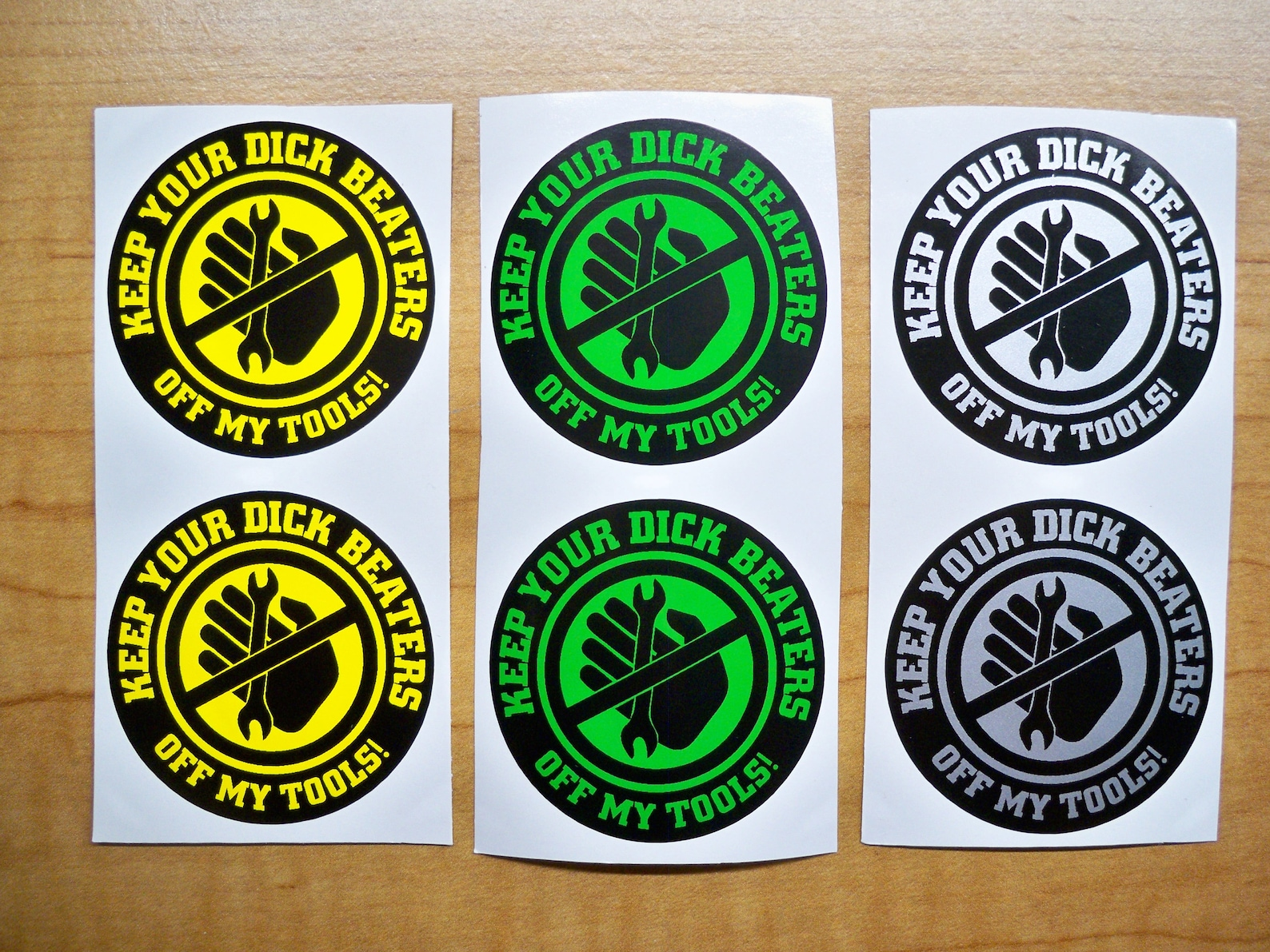 6-pack Funny Hard Hat Stickers Keep Your DICK BEATERS Off