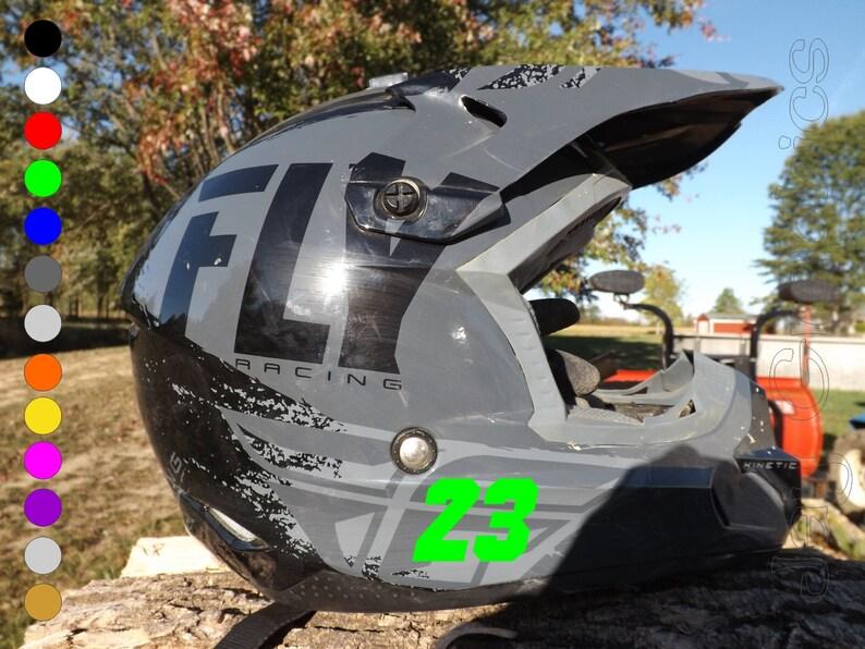 Pair 2 Custom Helmet Side Numbers Stickers Personalized Vinyl Decal Dirt Bike Motorcycle Helmets Football Baseball Motocross Sticker