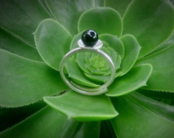 Black Onyx Ring,Adjustable, Solitaire Ring,Gift for Mom,Gift for Best Friend,Gift for Girlfriend, onyx jewelry, One size fits all