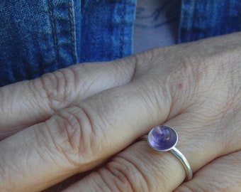 Amethyst Ring,Adjustable Ring, Solitaire Ring, Gift for Mom, Gift for Best Friend, Gift for Girlfriend,amethyst jewelry, February Birthstone