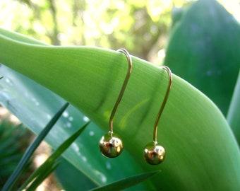Dangle gold earrings for women, Minimalist jewelry, dangle gold earrings, earrings for women, Birthday gift, 19.2k gold, handmade jewelry