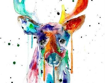 Watercolor Deer Print