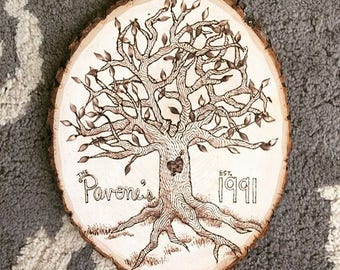 Family Tree Wood Burn