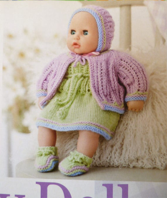 Baby Doll Clothes Knitting Patterns 14 Inch Doll Clothes Knit Etsy