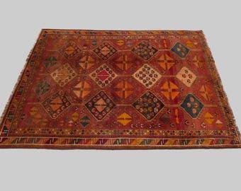 Handknotted Vintage Persian Qashqai Carpet 283x208cm