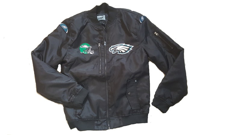 best loved e32ca 3974e New Philadelphia Eagles Military Style Black Flight Jacket Embroidered  Patch |Large