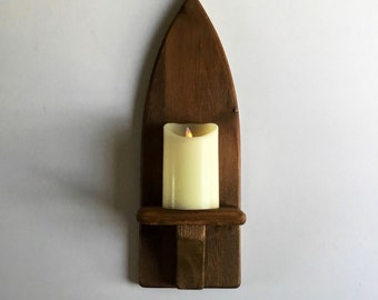 Gothic tall candle sconce,hall decor,oak stained candle sconce, candle holder