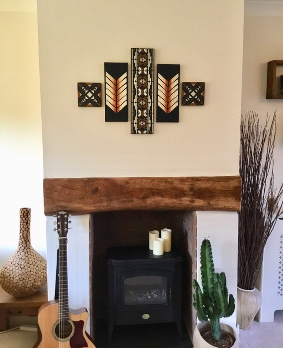 Aztec Bohemian Living Room Decor Blacktan And White Wall Etsy