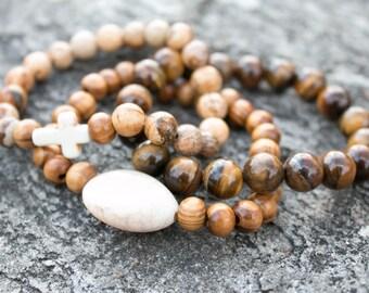 Stackable bracelets- Natural Stone Mala Bracelets Healing Jewelry - Mala Beads Yoga- Proceeds to Charity- Healing bracelet, energy bracelet