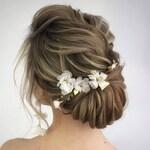 ivory hair accessories flowerl hair pin gold Wedding boho floral hair piece gold leaf silk flower headpiece bohemian hair bride