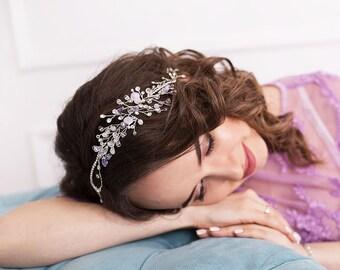 lilac wedding accessories hair crystal headpiece Bridal Hair piece purple Hair accessory Rhinestone headband bridal hair vine Violet prom