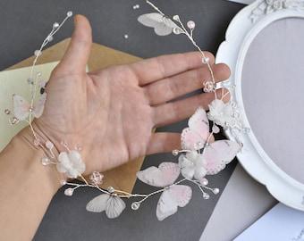 butterflies Bridal Headpiece flower Headband wedding Hair Vine blush prom hair accessory Bohemia head piece beach hair accessory