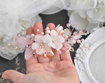 Flower hair flower rose gold hair piece silk flower ivory comb butterflies wedding accessories bridal hair piece pearls hair comb