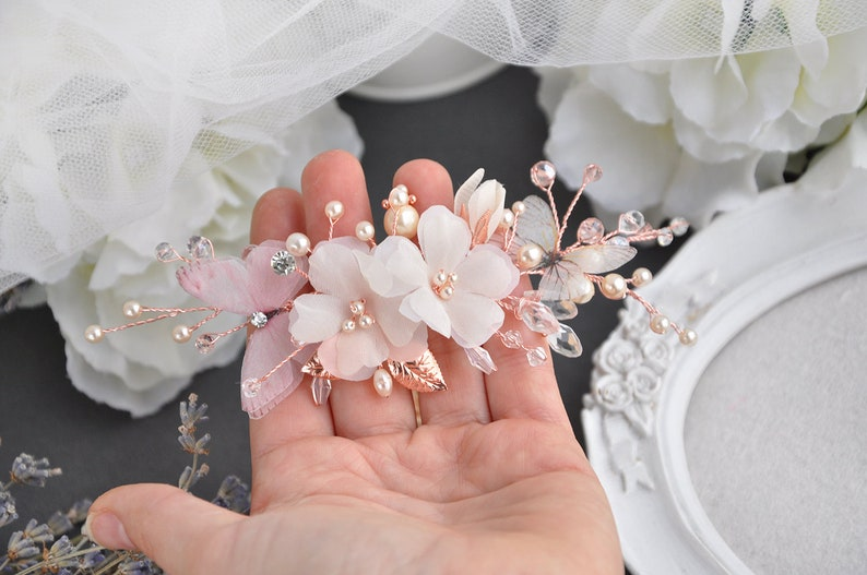 Flower hair flower rose gold hair piece silk flower ivory comb image 0