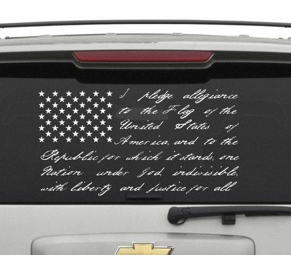 Versprechen Der Treue Vinyl Aufkleber Aufkleber Flagge Usa Vereinigte Staaten Von Amerika Kostenloser Versand