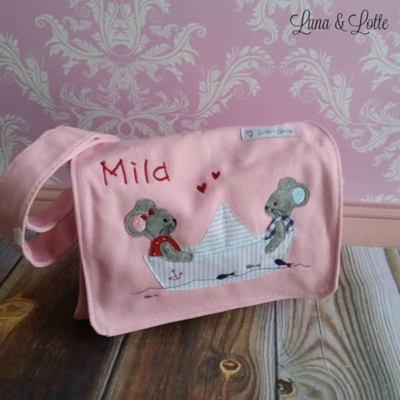 Mouse in boat pink nursery bag name mice