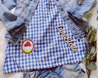 Tunic blue checkered mushroom school enrolment school bag summer summer special 2021 summer price Waldorf