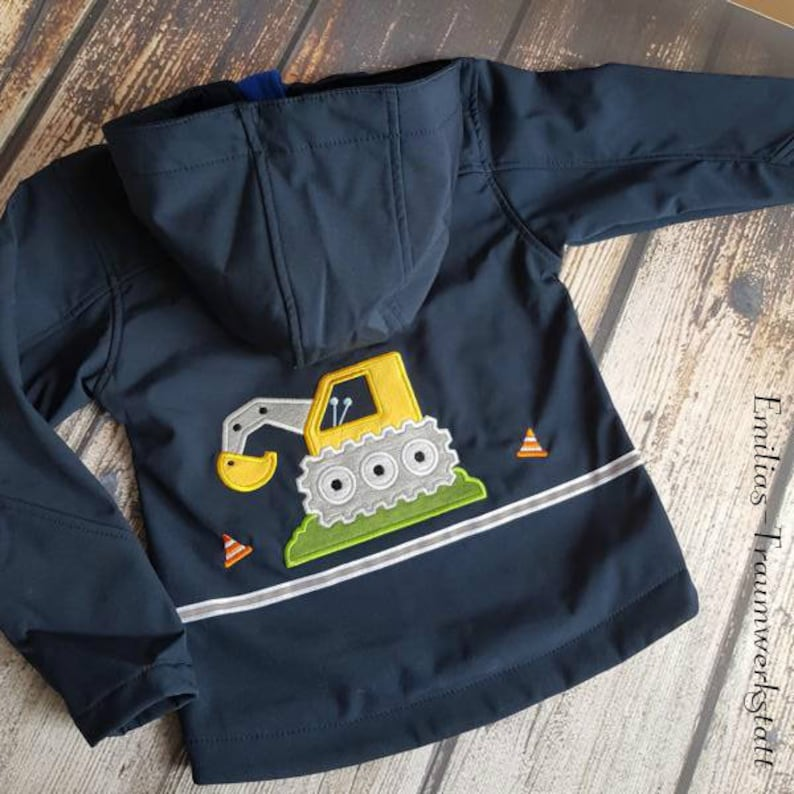 price from 69,95 Euro Softshell jacket blue hooded jacket excavator construction cool,blue,digger,construction site,Waldorf