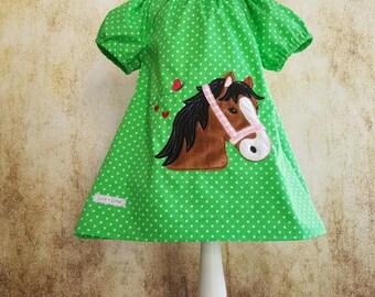 Tunic Green Stars Horse Pony Lulu Size 68-140