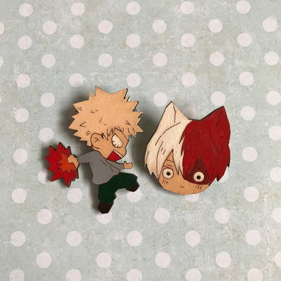 Wooden Brooch Pin Katsuki Bakugo Shoto Todoroki Boku No Hero Academia My Hero Academia Halloween Christmas Gift Present