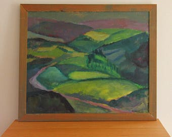 Painting Oil on canvas, depicting Irish landscape with road