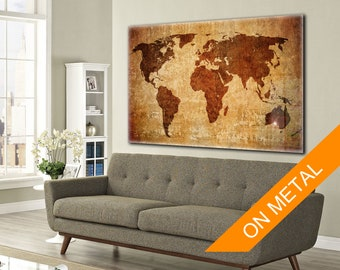 World Map Wall art, Metal Print, World map, Room art, World Map Metal, Classic World Map, Custom metal art, Print on metal, World map custom