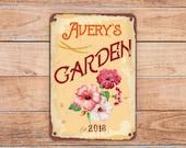 CUSTOM GARDEN SIGN, Personalized Garden Sign, Vintage style Garden Sign, Customizable Garden sign, Custom Outdoor Sign, Garden Plaque