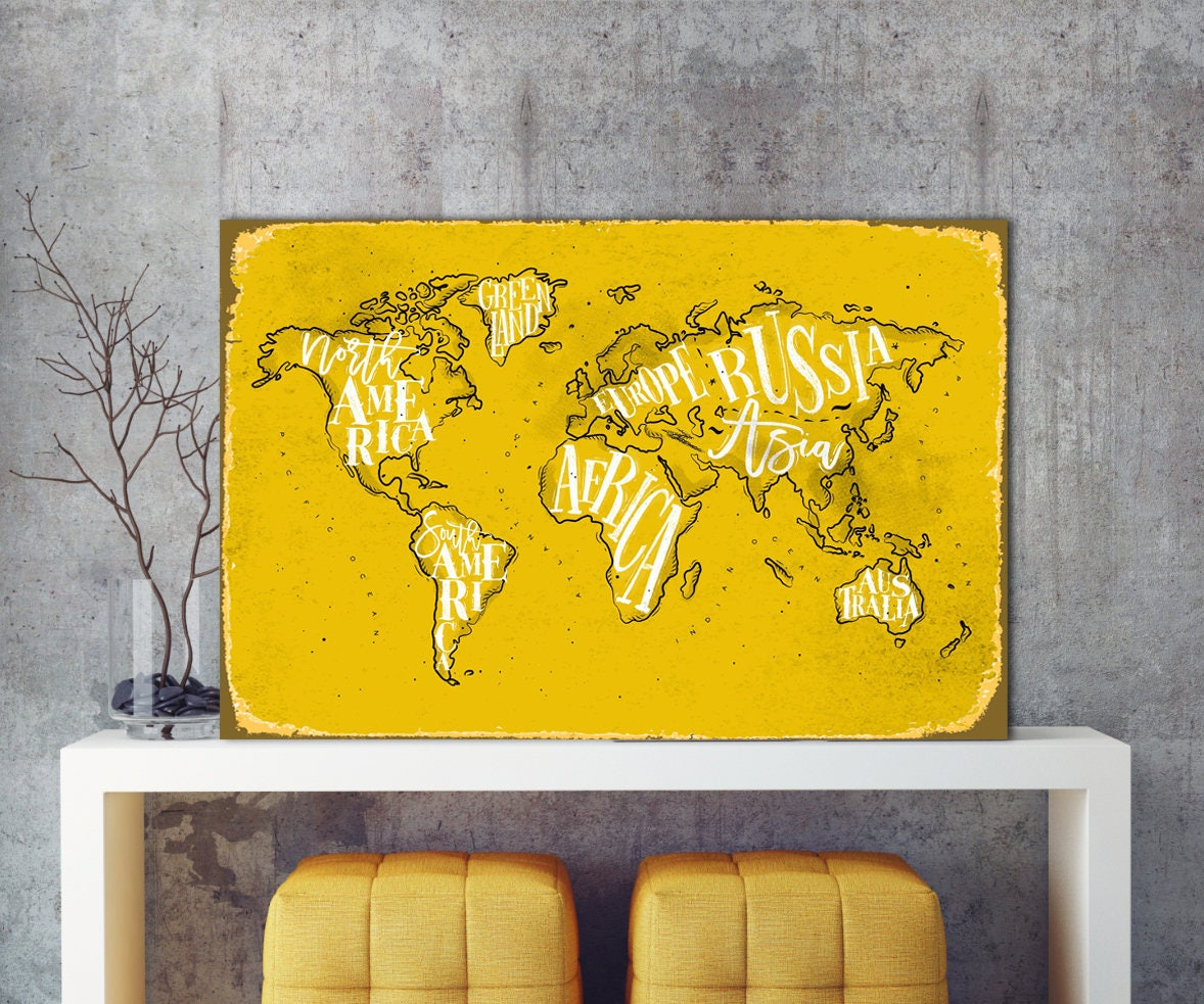 Yellow World map World Map Metal Map Map metal sign Metal | Etsy