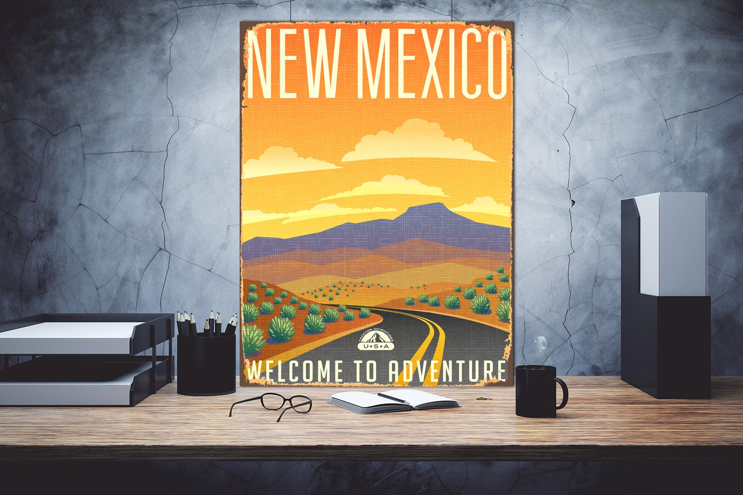 New Mexico Welcome to adventure Metal print art New Mexico | Etsy