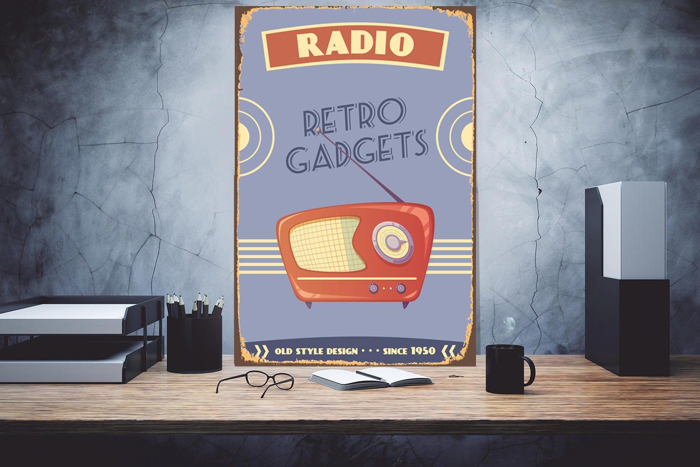 Old Radio Retro Radio Vintage Radio Wall art sign Metal artwork Art metal  sign Custom metal sign Decor sign Metal Sign