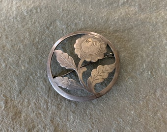Vintage Sterling Silver Flower Brooch Pin
