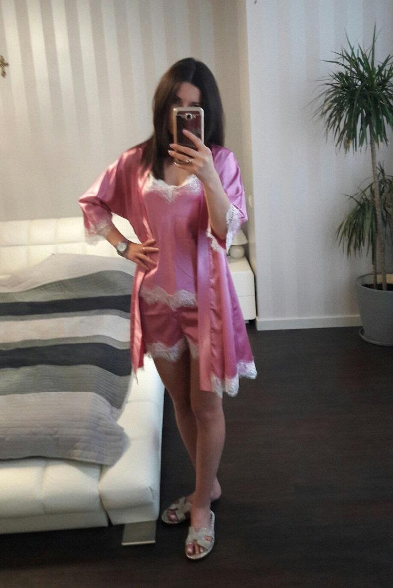 Bridal Pajama Set Womens Satin Light Pink Pajama Set Pajamas Set Short Pajama Set Satin Short and Shirt Gift for Her Satin sleepwear
