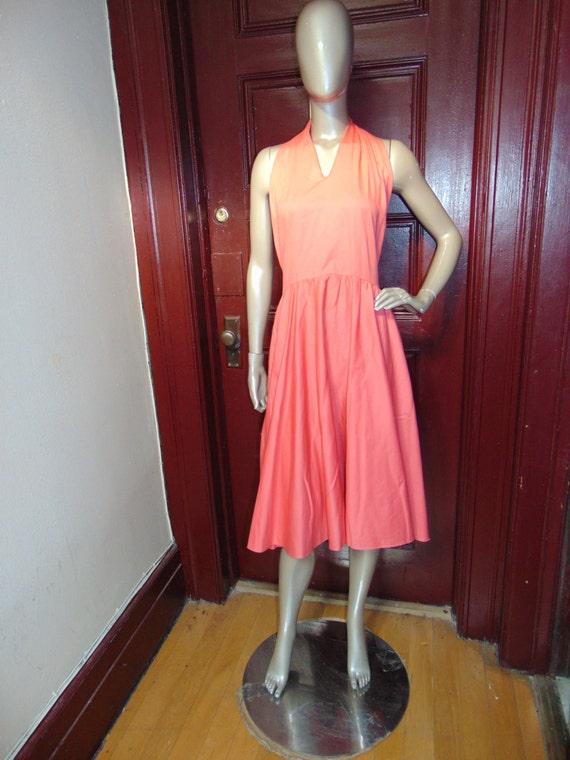 Vintage Pink Sherbet Halter Dress