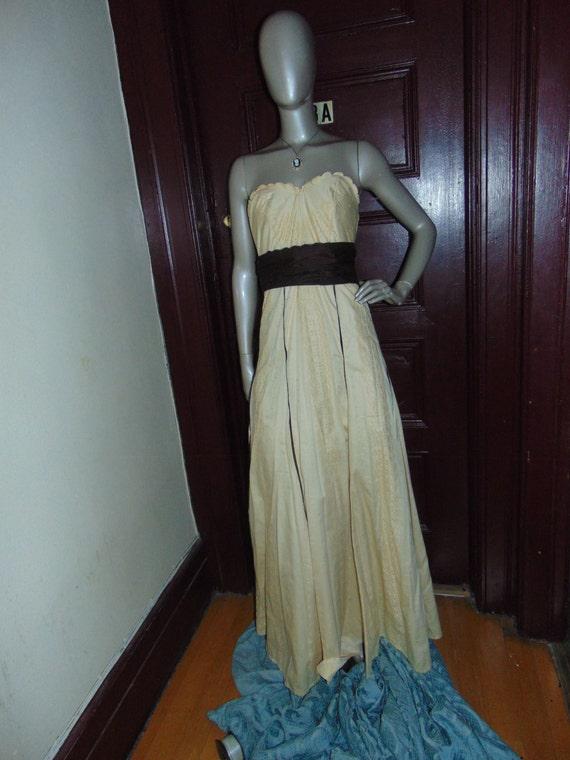 Yellow Strapless Eyelet Dress