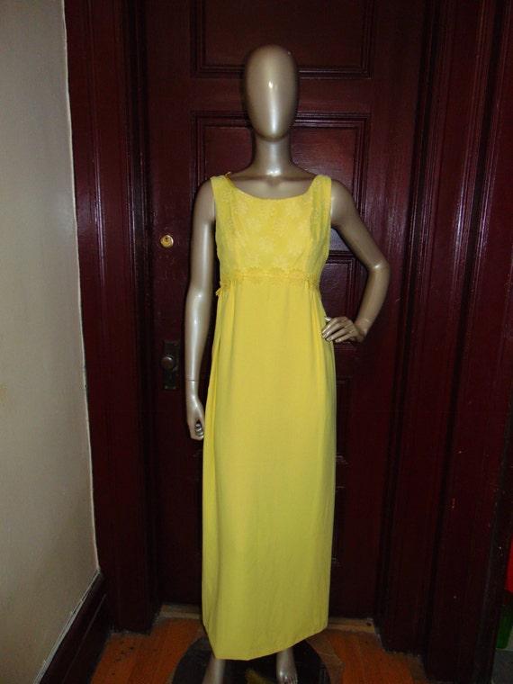 Vintage Long Yellow Formal Dress - image 3