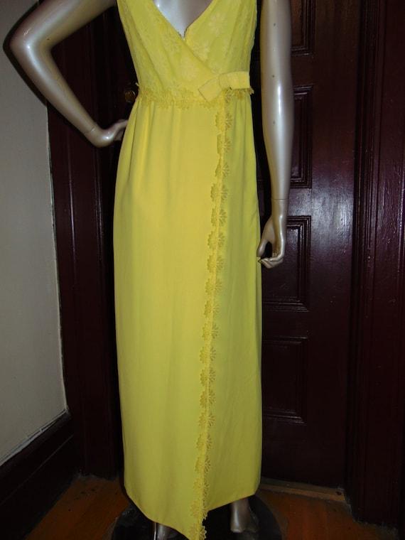 Vintage Long Yellow Formal Dress - image 5