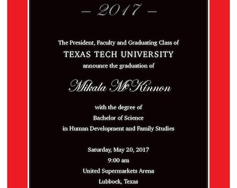 Texas tech invite etsy texas tech graduation announcements and envelopes with free shipping filmwisefo