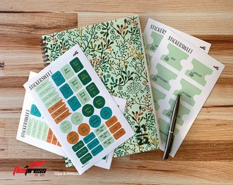 Colorful Green Vine Design  | Academic planner 2021-2022 | 13 Month  | July 2021 - July 2022  FREE STICKERS!  .  FPPKGGV