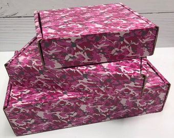 Camo Pink Corrugated Box ~ 3 Sizes ~ MANY Colors and Patterns MANY uses