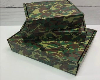 Camo Green Corrugated Box ~ 3 Sizes ~ MANY Colors and Patterns MANY uses