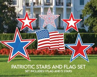 Patriotic American Flag and 5 Stars, Set of 6