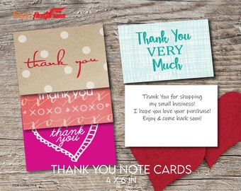 Thank You Cards  .  100 Cards  .  SET OF 4 Unique Designs with Personalizable back note. FPNCCTY_24