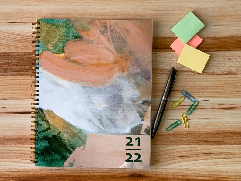 Abstract Teal & Peach Design   Academic planner 2021-2022  image 1