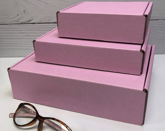 Pastel Pink Corrugated Box ~ 3 Sizes ~ MANY Colors and Patterns MANY uses