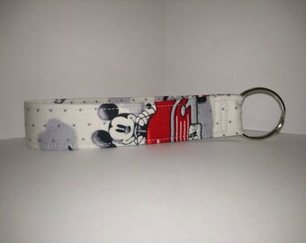 ef5cb139a New Key Fob / Wrist Lanyard / Wristlet / Key Chain / Fabric Strap / Cartoon  Character Mickey Mouse driving a car