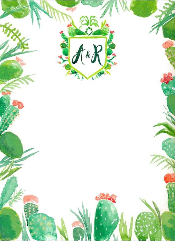 custom watercolor wedding invitation border design cacti