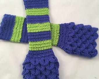 Seattle Seahawks Crocheted Fingerless Gloves