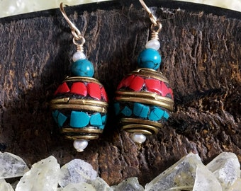 Coral and Turquoise Inlaid Brass Beads with Freshwater Pearl Accent
